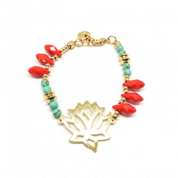 Turquoise Lotus - Armband aus Gold